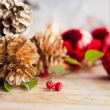 Gefrorener Hintergrund des Weihnachtsrotes Kegels Silber Lizenzfreie Stockfotos