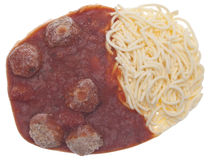 Gefrorener Isolationsschlauch und Fleischklöschen stockfotos