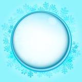 Gefrorener Kreisrahmen mit blauem Schneeflockenvektor stock abbildung