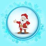Gefrorener Kreisrahmen mit Schneeflocken und Santa Claus-Vektor stock abbildung