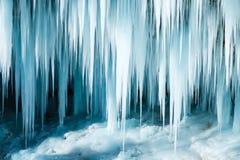 Gefrorener Pericnik-Wasserfall Lizenzfreies Stockbild