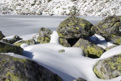 Gefrorener See im Tal Stockbild