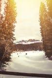 Gefrorener See, Tannenwald und Berge See Carezza in Süd-Tirol in Italien stockfotos