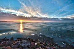 Gefrorener See von Balaton Lizenzfreies Stockfoto