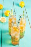 Gefrorener Sommertee mit Zitrone Lizenzfreies Stockfoto