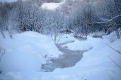 Gefrorener Teich in Murmansk, Russland Lizenzfreies Stockfoto