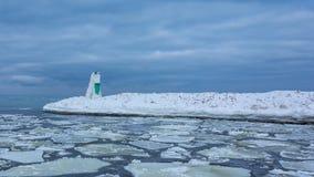 Gefrorener Winter-Leuchtturm Stockfotografie