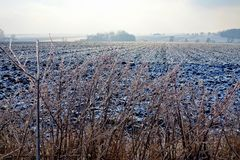 Gefrorenes Ackerland und Niederlassungen auf einem dunstigen Winter Stockfoto