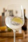 Gefrorenes funkelndes Wasser mit Kalk-Scheibe im Weinglas Stockbilder