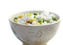 Gefrorenes Gemüse mit Reis Stockbild