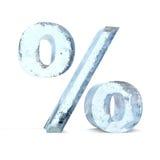 Gefrorenes Prozentsatz-Zeichen Stockfotografie
