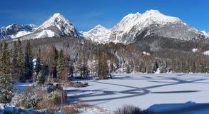 Gefrorenes Strbske Pleso in hohem Tatras stockbilder