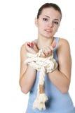 Gefrustreerde begrensde vrouw Stock Fotografie