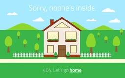 gefundene Schablone 404 Seite nicht mit leerem Haus Stockfotos