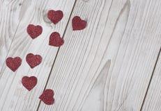 Gefunkelte rote Valentinsgruß ` s Herzkarte Stockbilder