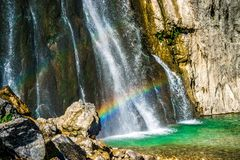 The Gega waterfall. The most famous and largest waterfall in Abkhazia. Georgia stock images