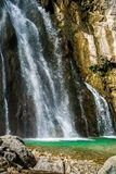 The Gega waterfall. The most famous and largest waterfall in Abkhazia. Georgia royalty free stock images