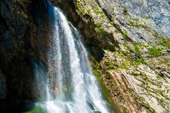 The Gega waterfall. The most famous and largest waterfall in Abkhazia. Georgia stock image