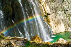 The Gega waterfall. The most famous and largest waterfall in Abkhazia. Georgia stock photography