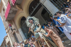 Gegants Americanos at Festa Major in Sitges, Spain Royalty Free Stock Photography
