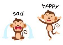 Gegenüberliegende Wörter traurig und glücklicher Vektor Stockbilder