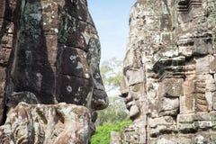 Gegenüberstellen von Statue bayon Gesicht an Bayon-Tempel in Siem Reap, Kambodscha stockfotografie