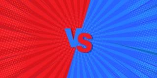 GEGEN gegen blaues und rotes komisches Design Auch im corel abgehobenen Betrag Ist eine Idee für Hintergründe, Retrostile und Com vektor abbildung