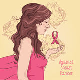 gegen Brustkrebsfahne schönes Mädchen mit rosa Band Stockbild