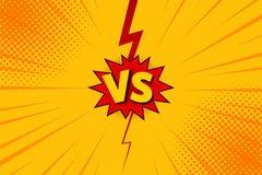 Gegen GEGEN Buchstabekampfhintergründe im flachen Comicsartdesign mit Halbton, Blitz Vektor Stockfoto