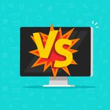 Gegen Kampf auf Computervektorillustration, flache Karikaturdesign-PC-Anzeige mit gegen Text, Idee von cybersport Ikone Lizenzfreie Stockfotografie