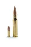 308 gegen 22 LR Munition Lizenzfreie Stockbilder