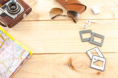 Gegenstände auf Holz stockbild