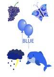 Gegenstände der blauen Farbe stock abbildung