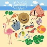 Gegenstände des Sommers auf dem Strand lizenzfreie abbildung