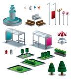 Gegenstände des Stadt lokalisierten isometrischen Satzes lizenzfreie stockbilder