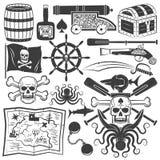 Gegenstände für Designpiratenlogo Stockfoto