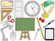 Gegenstand bezogen mit Büro und Bildung Stockbilder