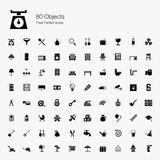 80 Gegenstand-Pixel-perfekte Ikonen Lizenzfreie Stockfotos