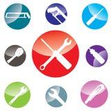 Gegenstandwerkzeug-Ikonendesign auf weißem Hintergrund Stockfoto