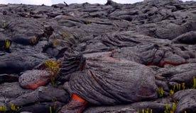 Gegenwärtige Lava auf der Erdoberfläche Flüssige Lava lizenzfreies stockbild