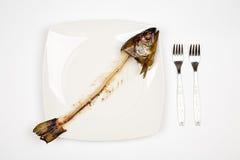 Gegeten vissen stock afbeelding