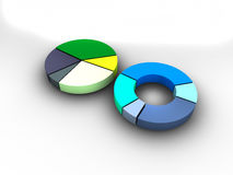Gegevens als 3d teruggegeven cirkeldiagrammen worden getoond dat Royalty-vrije Stock Afbeelding