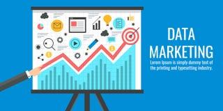 Gegevens die, bedrijfsgegevensanalyse, Webanalytics, informatie, statistiekenconcept op de markt brengen Vlakke ontwerp vectorban Stock Foto's
