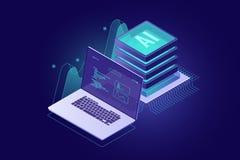 Gegevens die isometrisch informatiebeheer, digitale marketing, de online analyse van de dienstgegevens en statistiek, laptop reke stock illustratie