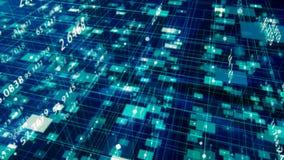 Gegevens en Aantallen - Gegevens en aantalwaarden die door cyberspace overgaan stock illustratie