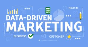 Gegevens gedreven marketing concept Idee van onderzoeksoptimalisering vector illustratie