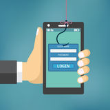 Gegevens Phishing met de visserij van haak Stock Foto