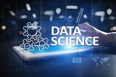 Gegevens Wetenschap, analyse Internet en het concept van het technologieconcept, banner en infographic op het virtuele scherm stock foto