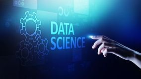 Gegevens wetenschap en diep het leren Kunstmatige intelligentie, Analyse Internet en modern technologieconcept stock afbeeldingen