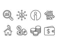 Gegevensanalyse, Muntuitwisseling en Cashback-kaartpictogrammen Voorzien van een netwerk, Uiteinden en de tekens van de Dollarpor vector illustratie